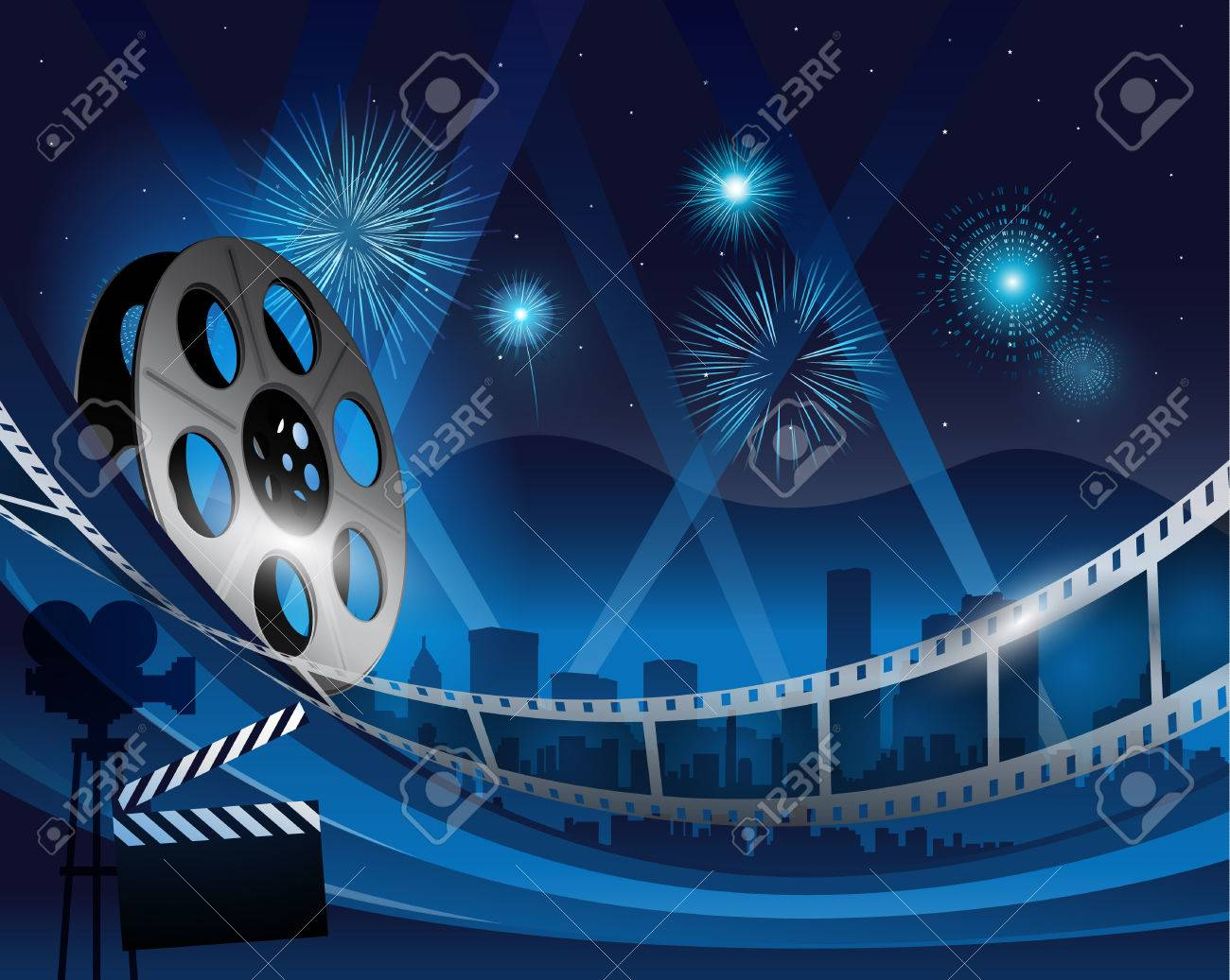 Blue Film Reel Movie Background In Front Of Hollywood City At