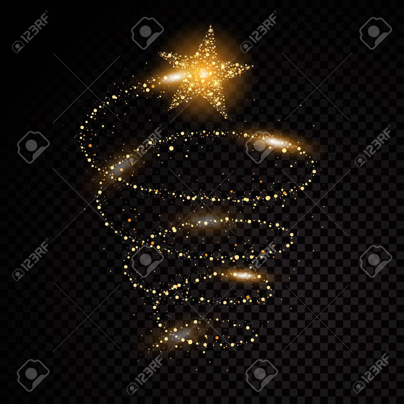 Gold glittering spiral star dust trail sparkling particles on transparent background. Space comet tail. Vector glamour fashion illustration. - 82981450