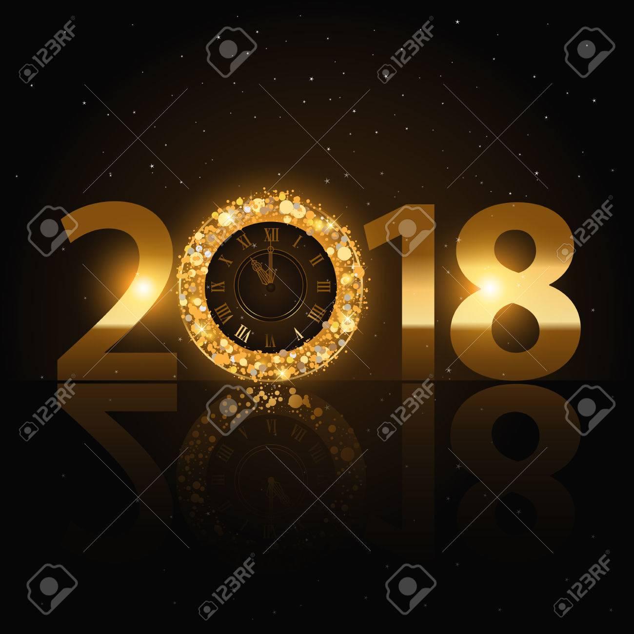 Feliz Año Nuevo 2018 Cartas De Oro Con Reloj Ilustraciones