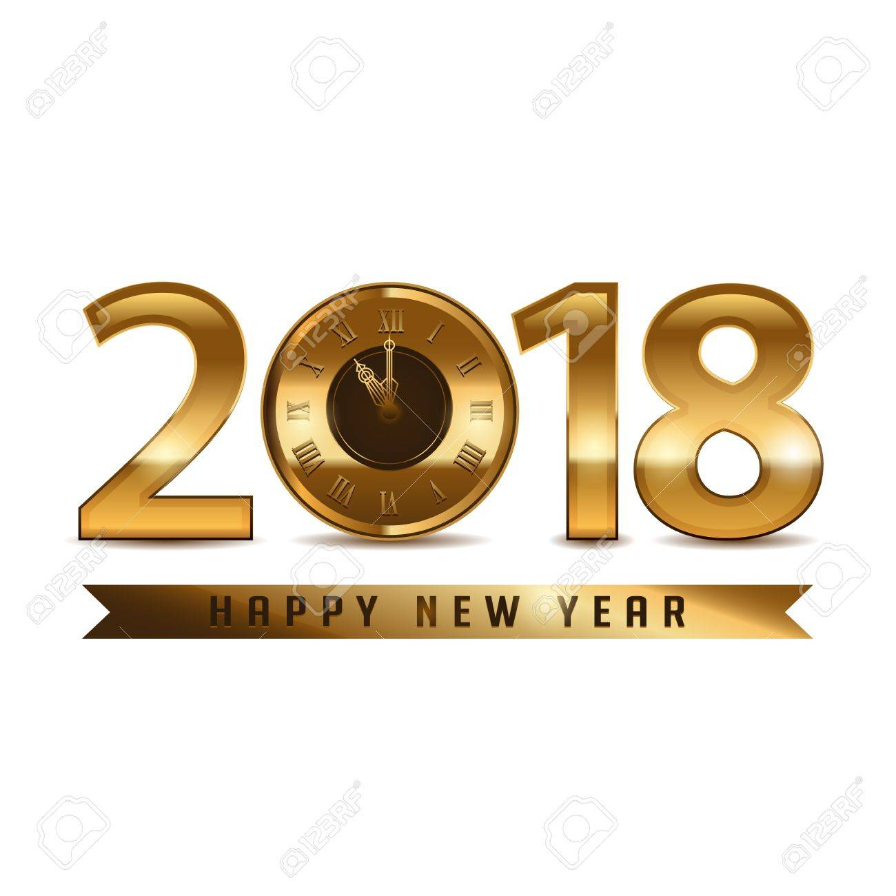2018 New Year Gold Letters With Clock On White Background Royalty ...