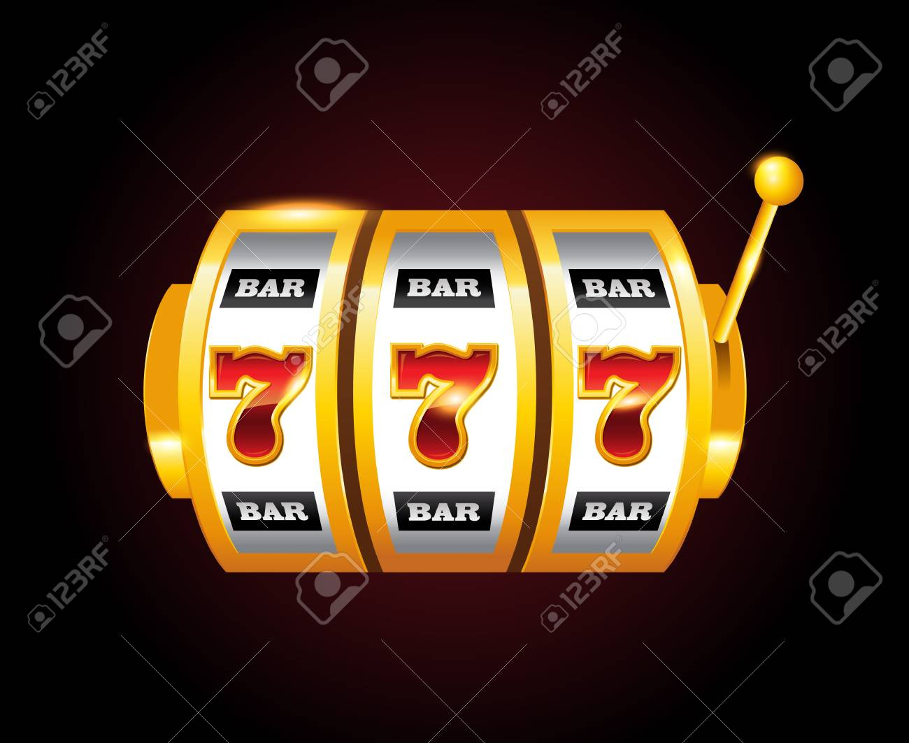 Casino Vector Golden Slots Machine With 777 Numbers Royalty Free