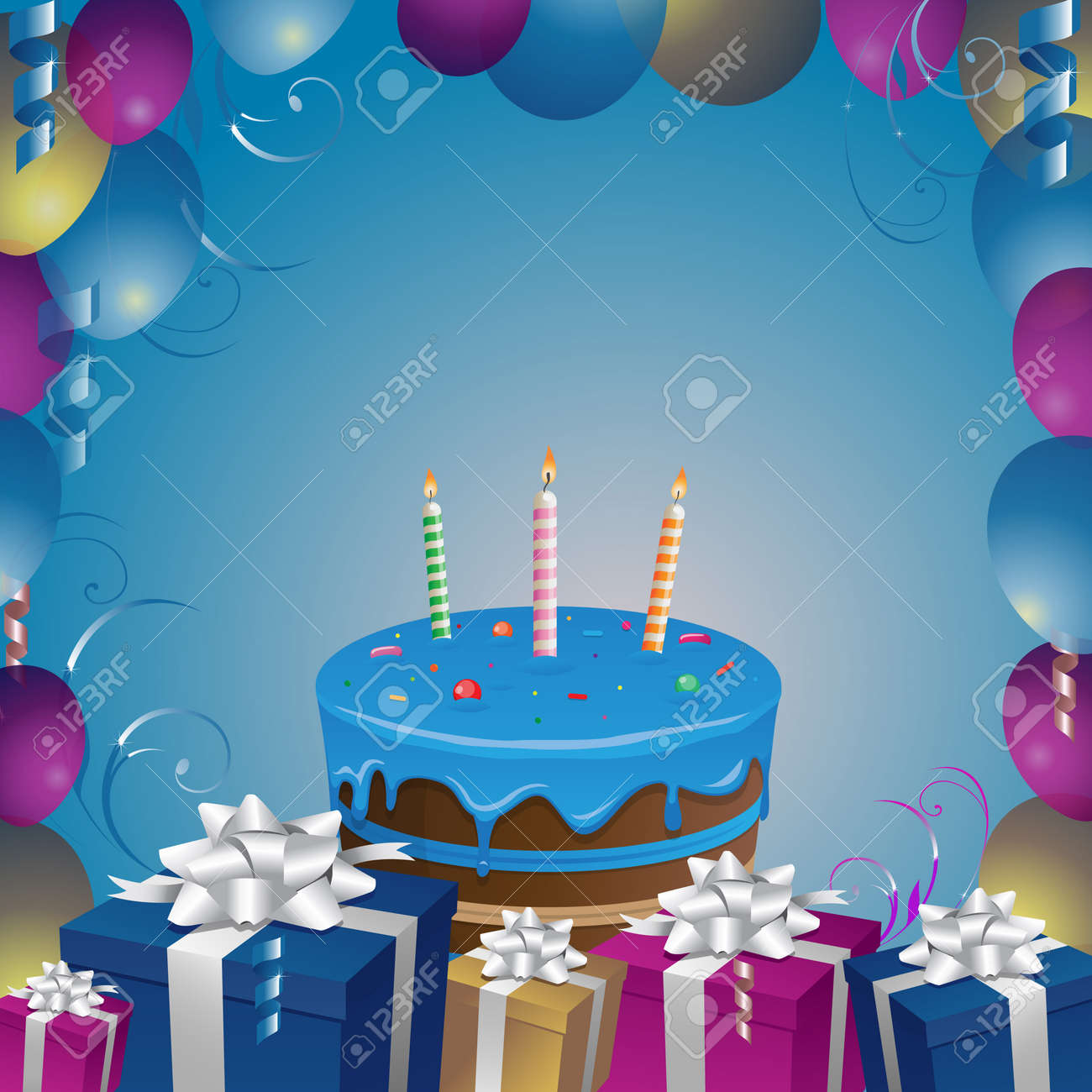 Beautiful Cake And Gifts Birthday Background Vector Illustration Clip Art Stock