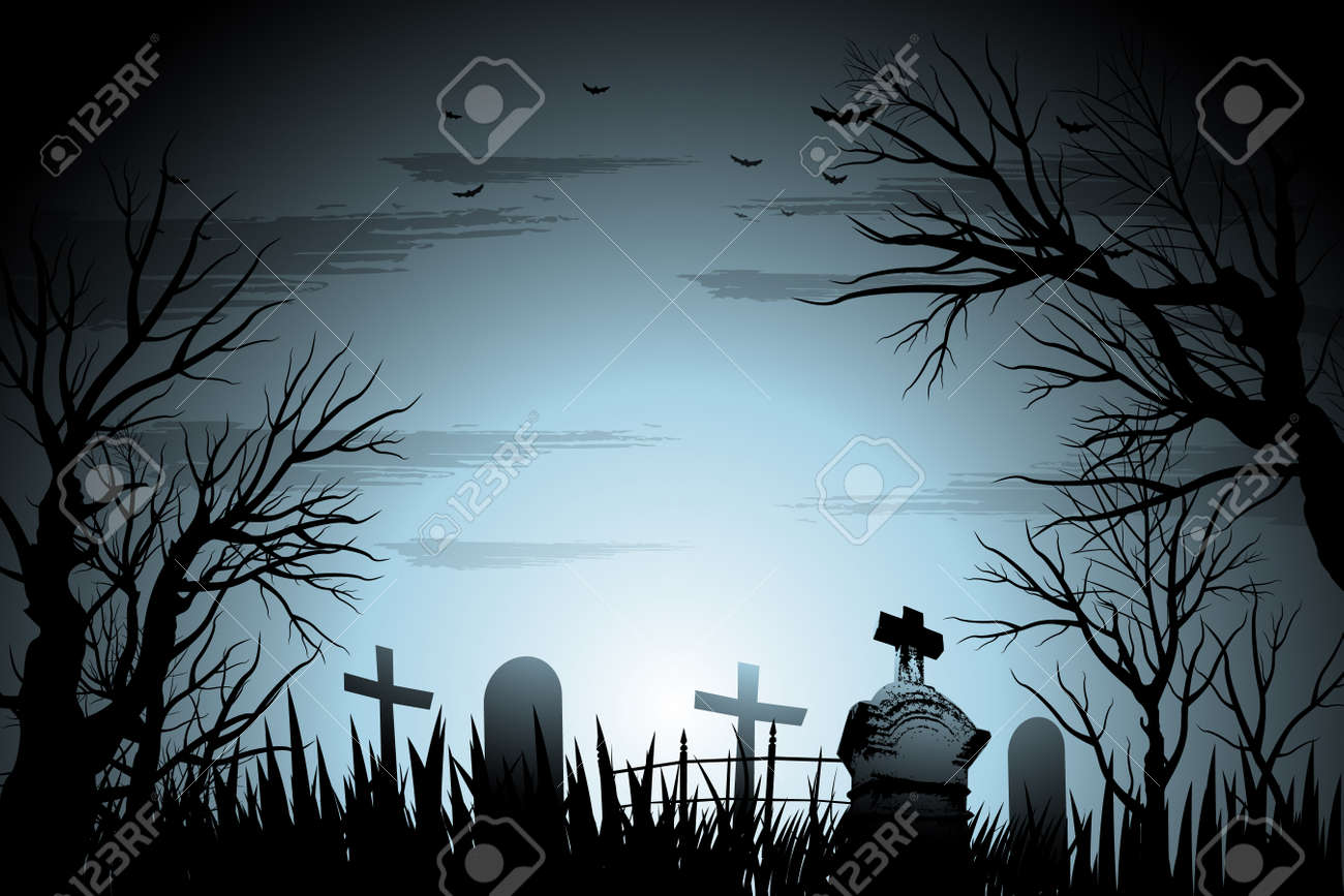 Creepy cemetery Halloween background with tree and tombstone..