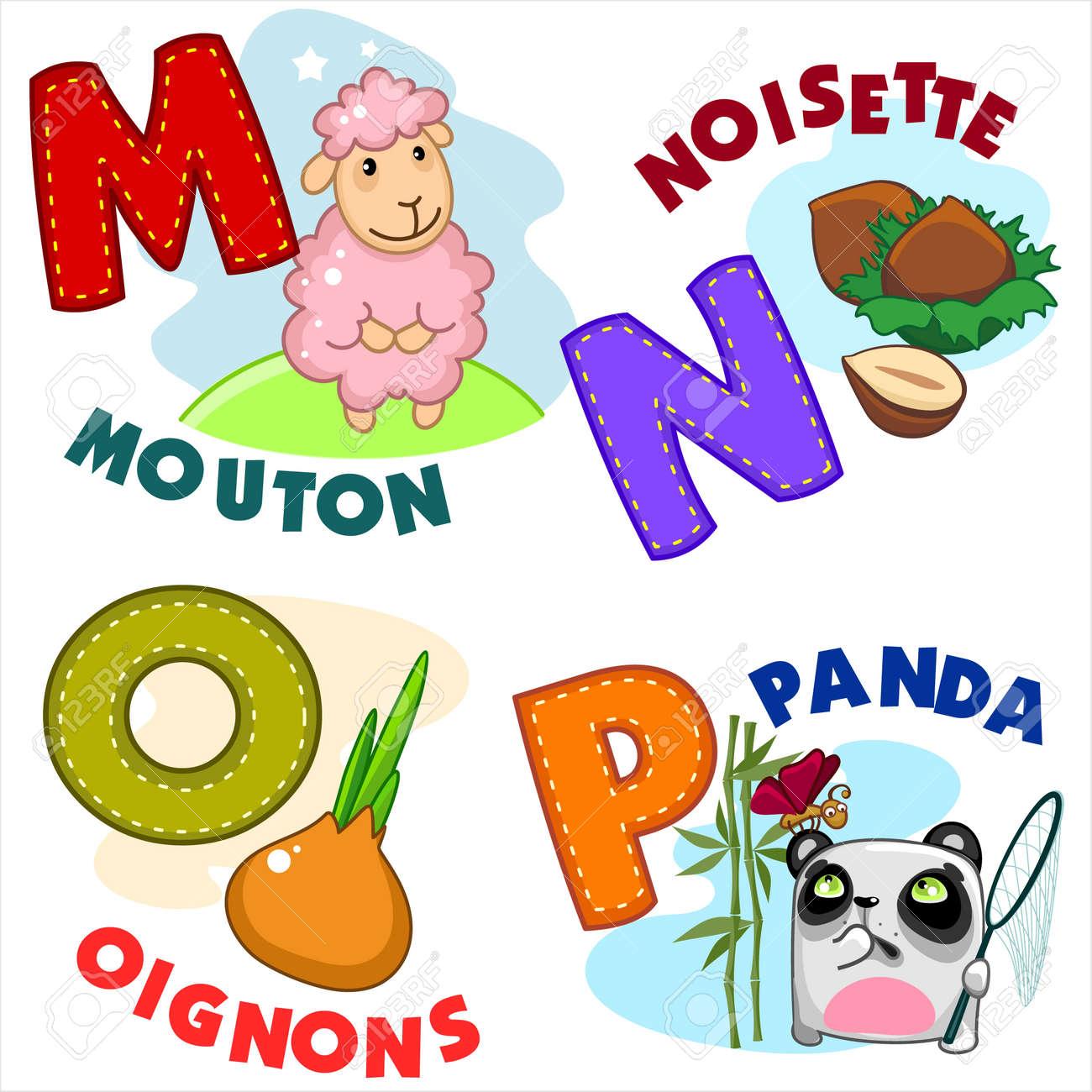 Französisch Alphabet Mit Buchstaben A MNOP Im Bild, Und Die Schafe ...