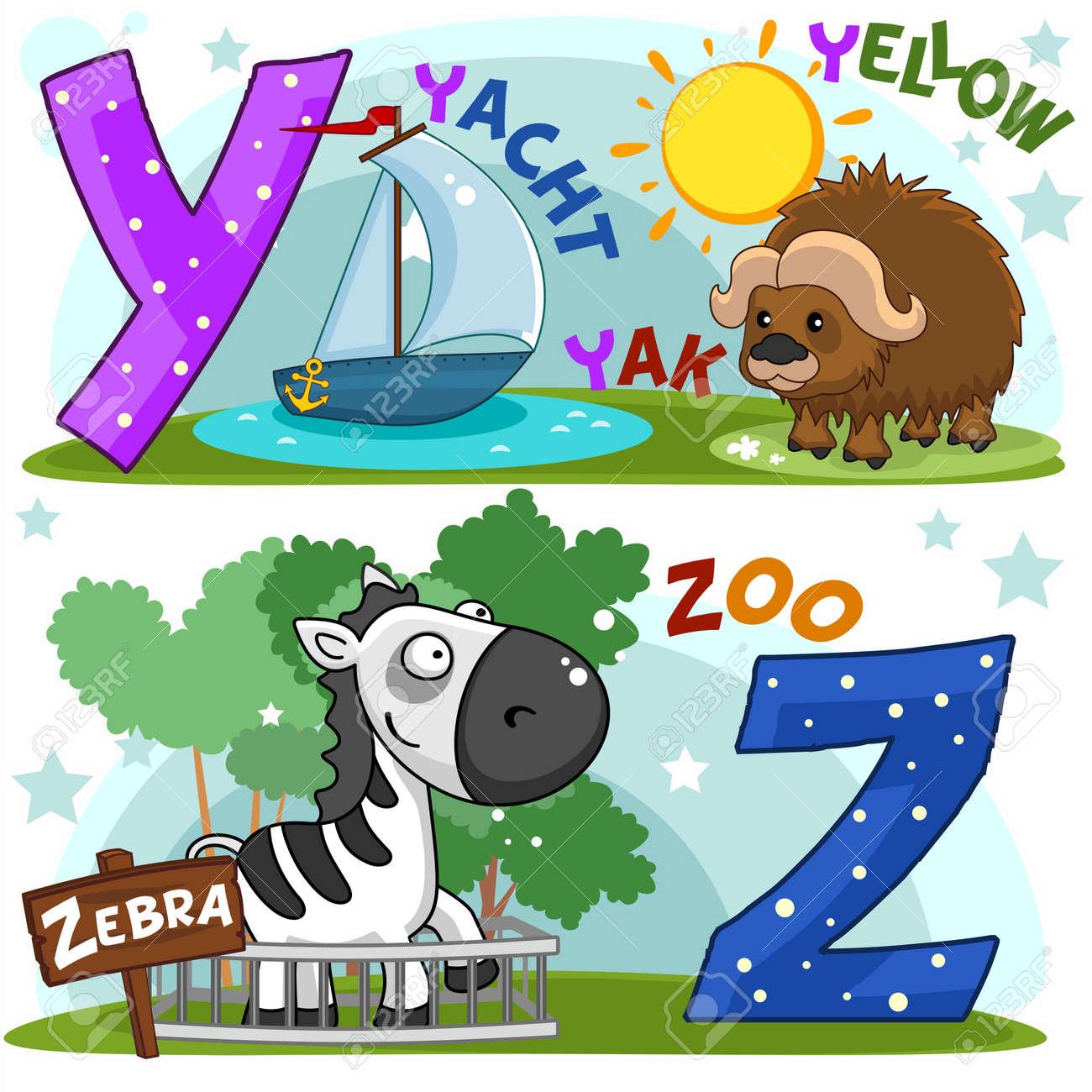 Colorido Alfabeto Ingl S De Dibujos Animados Con Letras Y Y Z Para  -> Sala En Ingles Dibujo