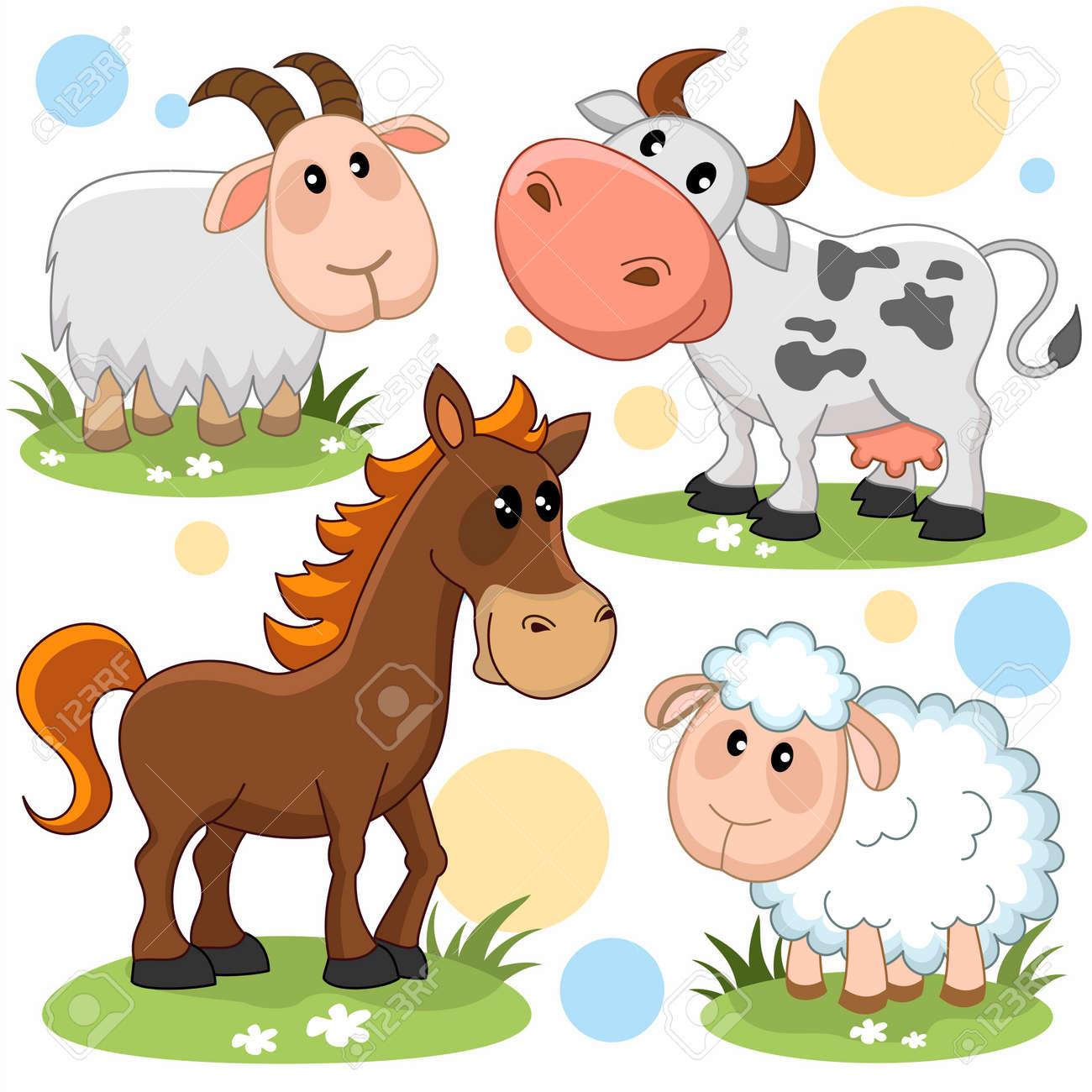 Conjunto De Imagenes De Dibujos Animados Con Animales Para Ninos