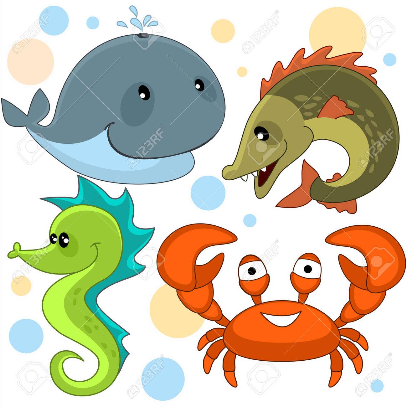 Conjunto De Imagenes De Dibujos Animados Con Animales Marinos Para