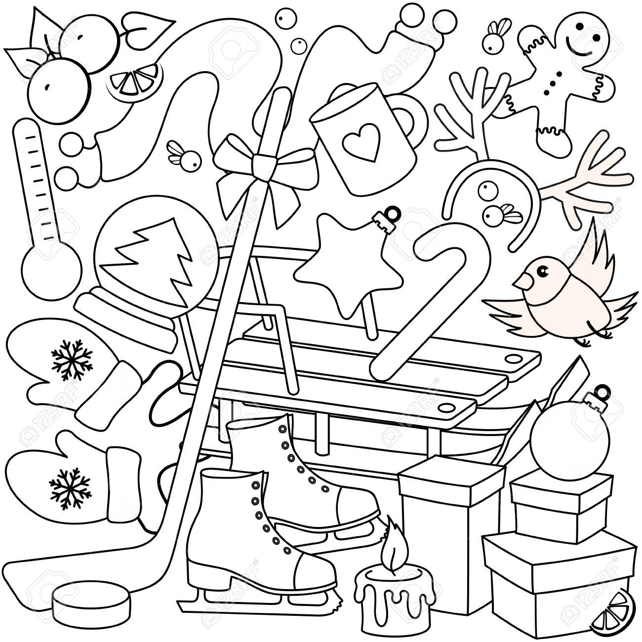 Dibujos Animados De Invierno Año Nuevo Para Colorear Con Objetos De