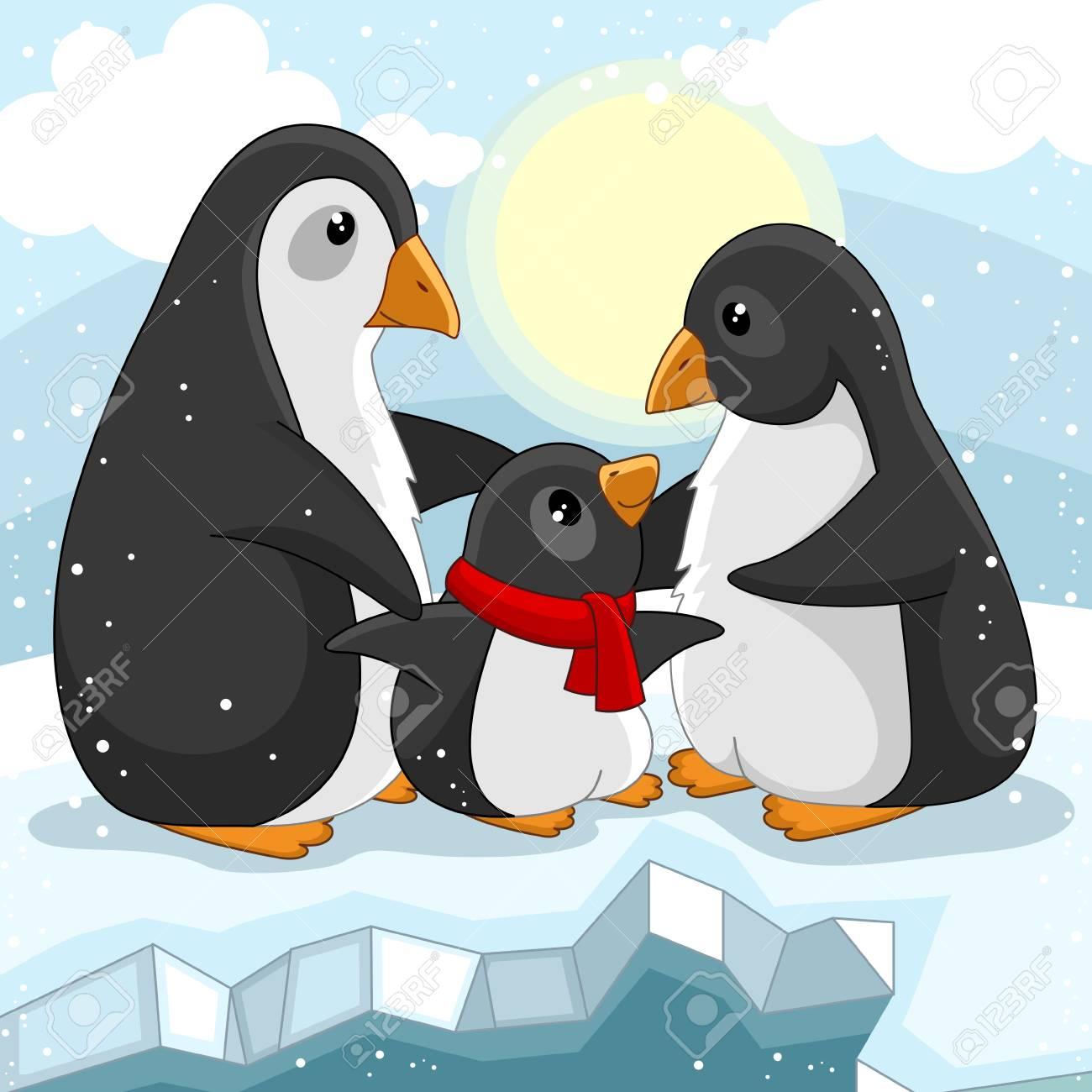 Una Foto Di Cartone Per Bambini La Famiglia Di Pinguini Che Si Amano è In Piedi Su Un Lastrone Di Ghiaccio E Intorno A Lui Nevica