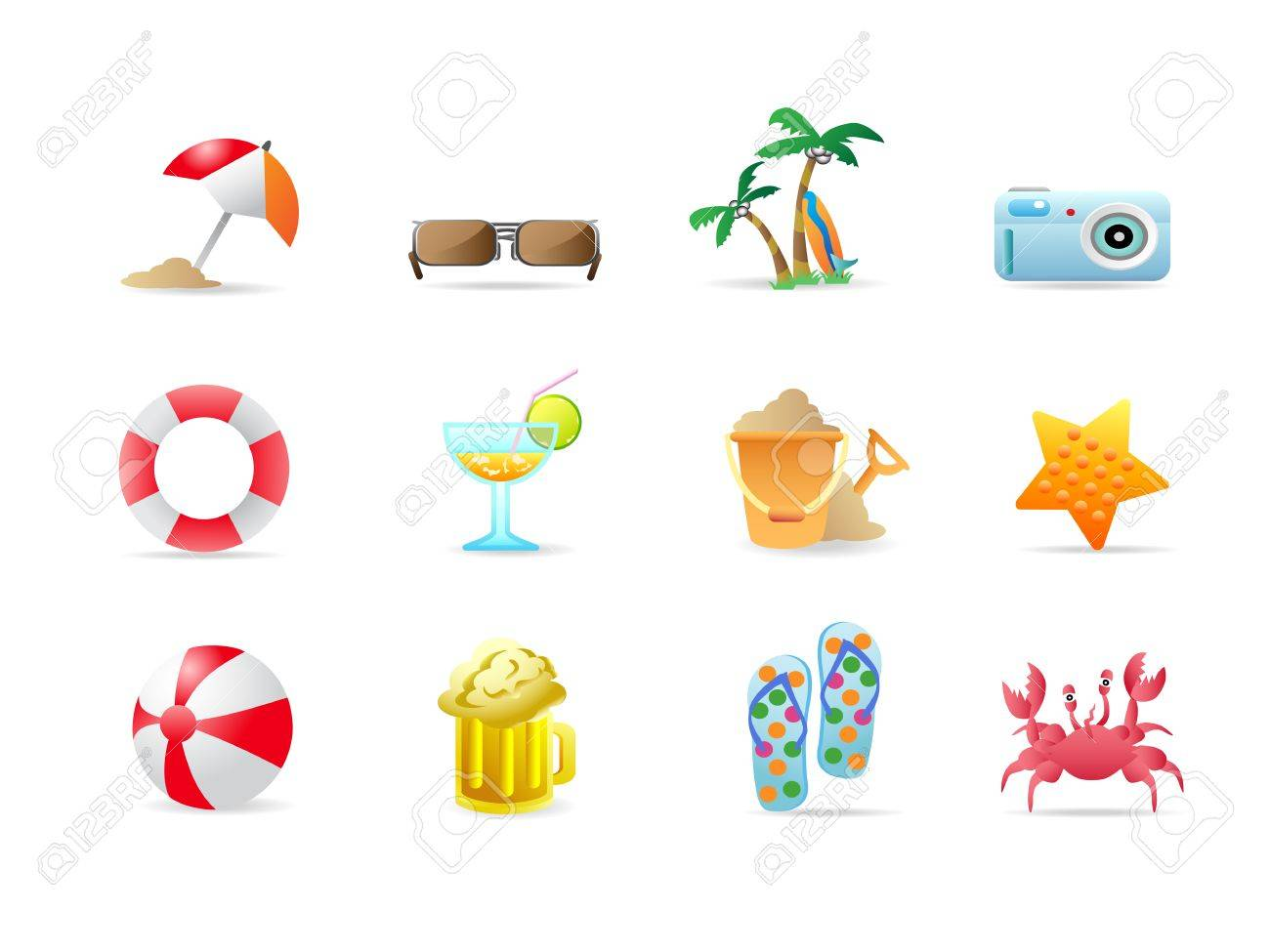 Beach icons and products Stock Vector - 6824130
