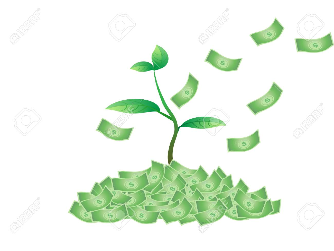 the concept of plant growing from the money Stock Vector - 7080585