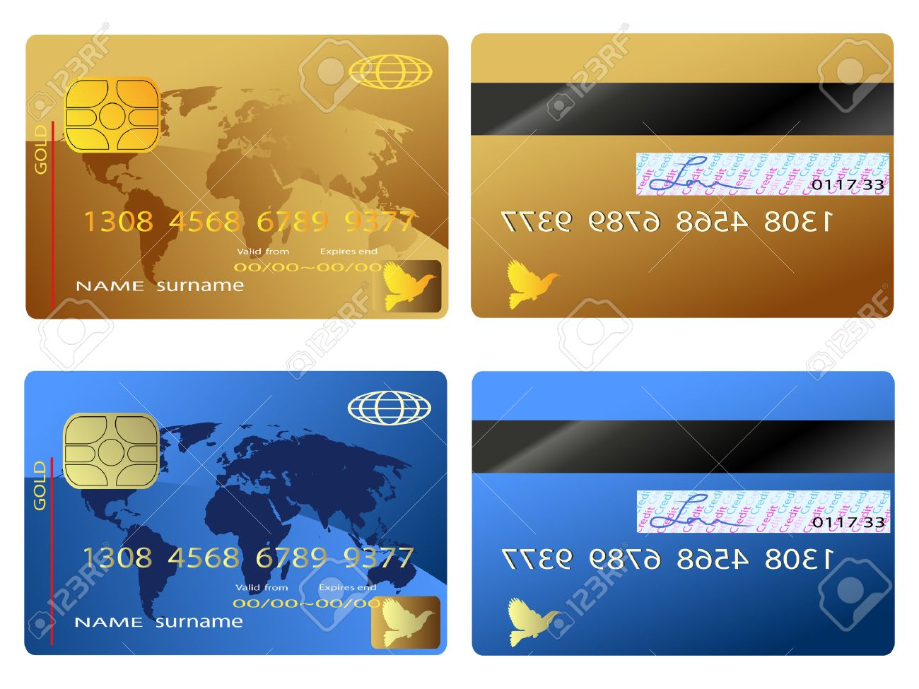 The Back And Front View Of Credit Card Royalty Free Cliparts