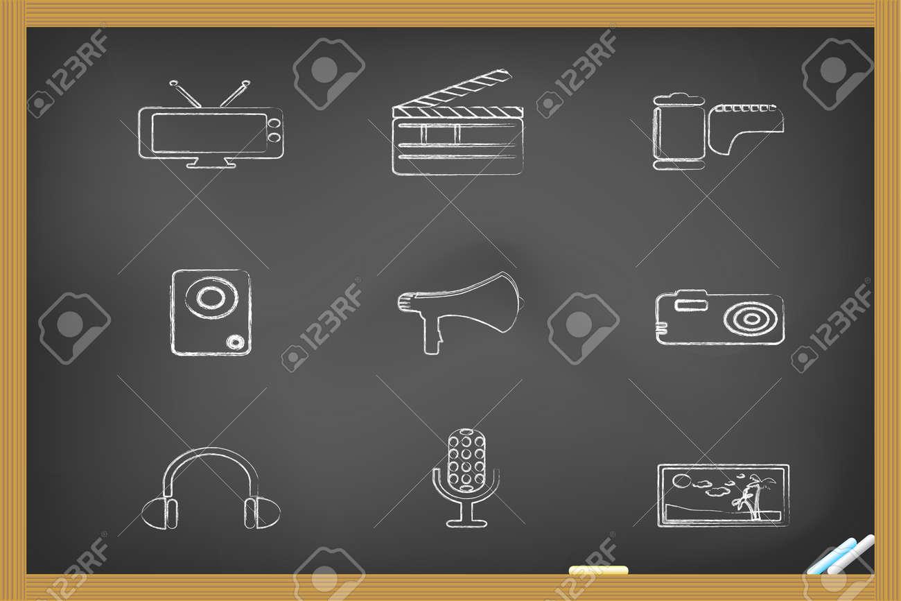 media icons drew on blackboard for design Stock Vector - 7546356