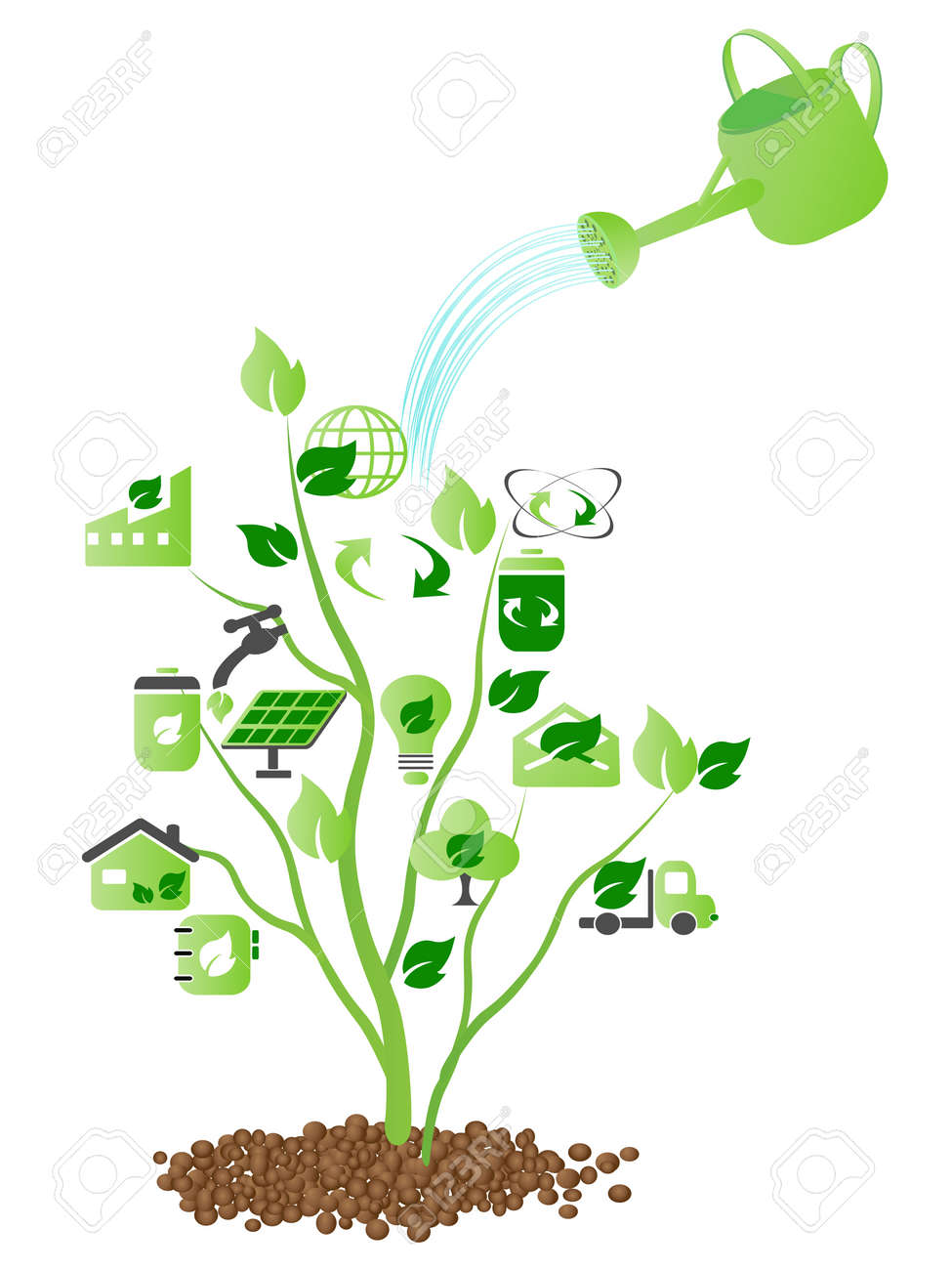 watering over some green icons growing on the tree Stock Vector - 7919600
