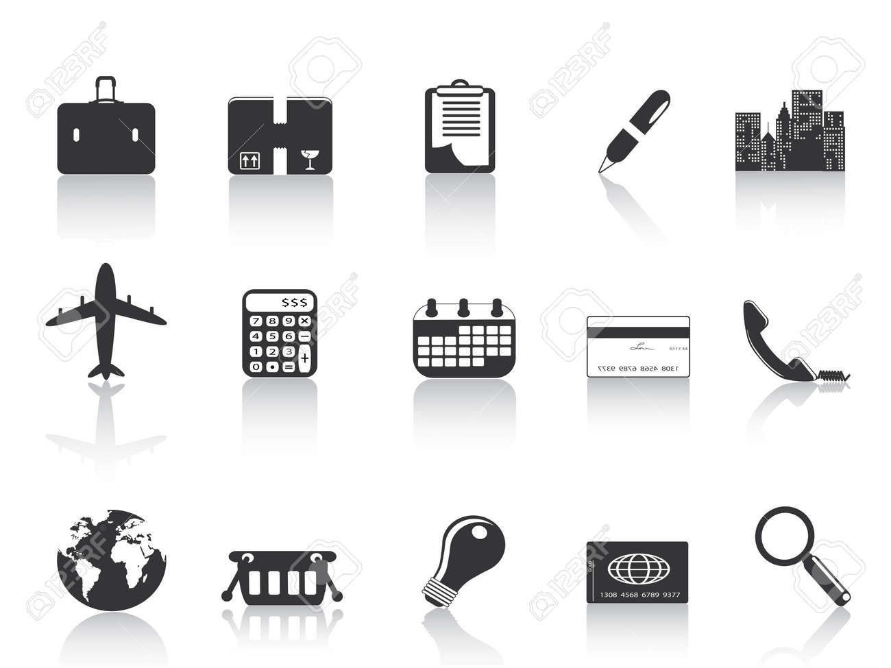 several black business icons for web design Stock Vector - 8107054