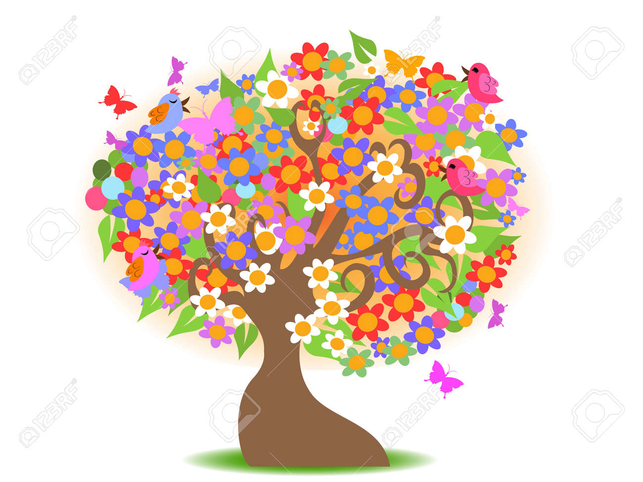 Spring Tree With Colorful Flowers For Design Royalty Free Cliparts