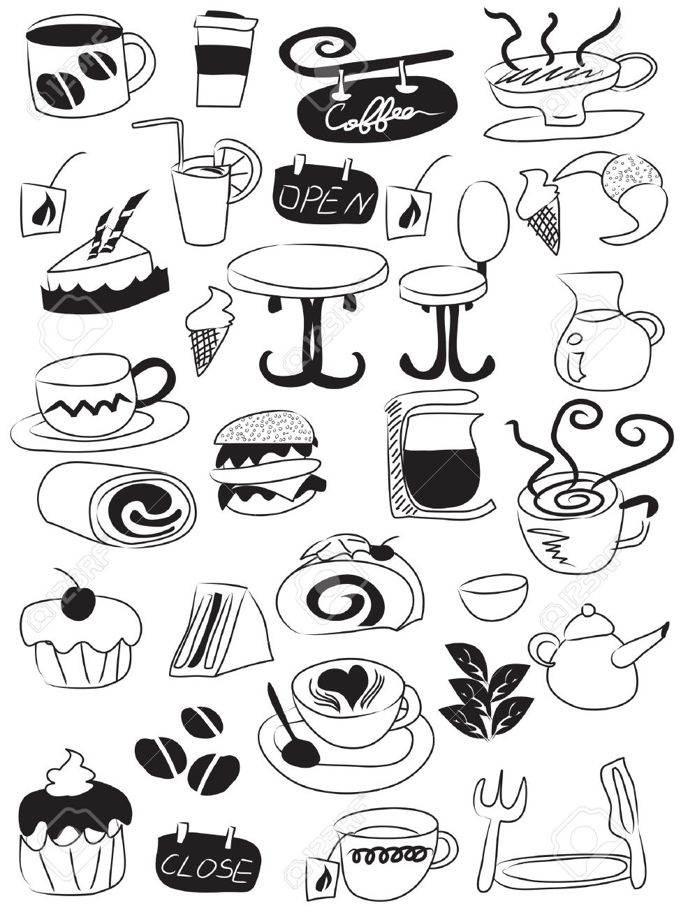 doodle drawing of coffee and tea icons Stock Vector - 8976198