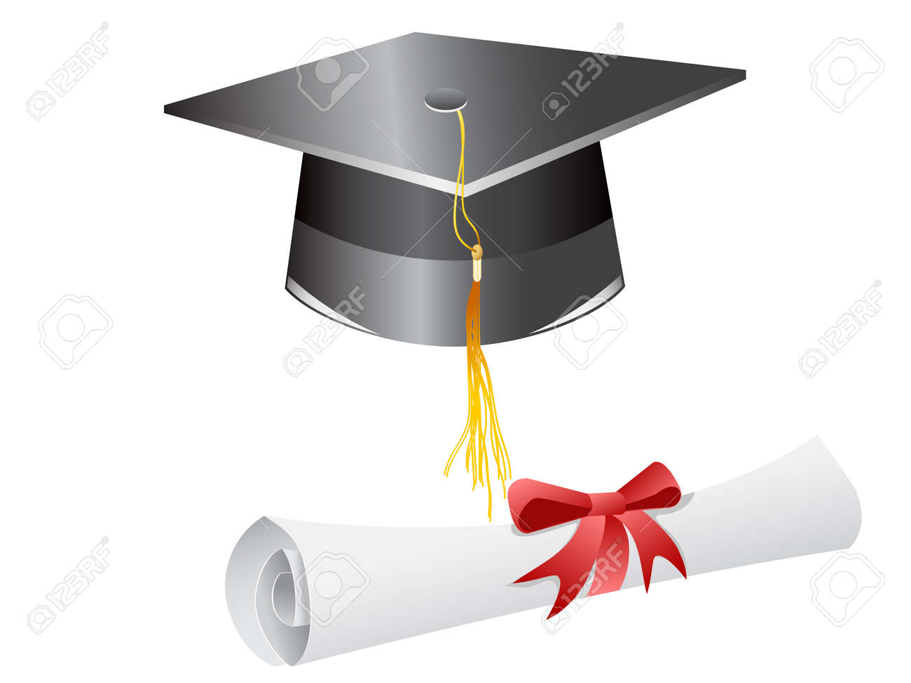 graduation cap diploma isolated on a white background royalty free