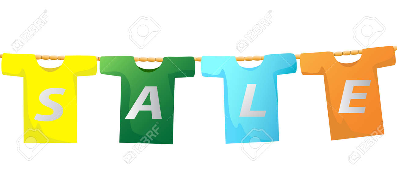 The Sale Sign On T-shirt Hanging On The Rope Royalty Free Cliparts ...