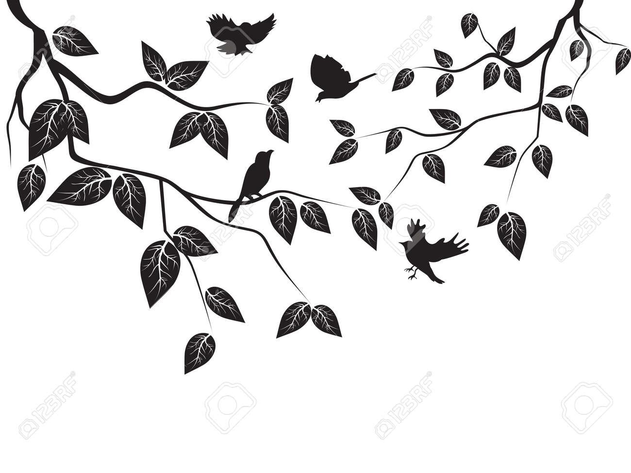 Flying Birds Silhouette Tree Birds Flying in The Tree