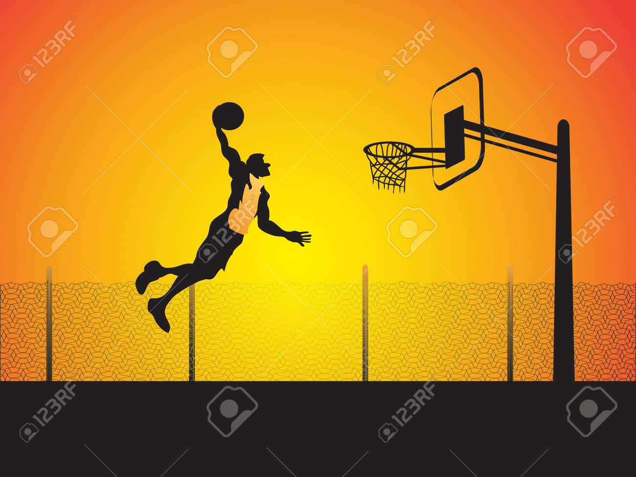 a basketball player do a big slam dunk Stock Vector - 9403514