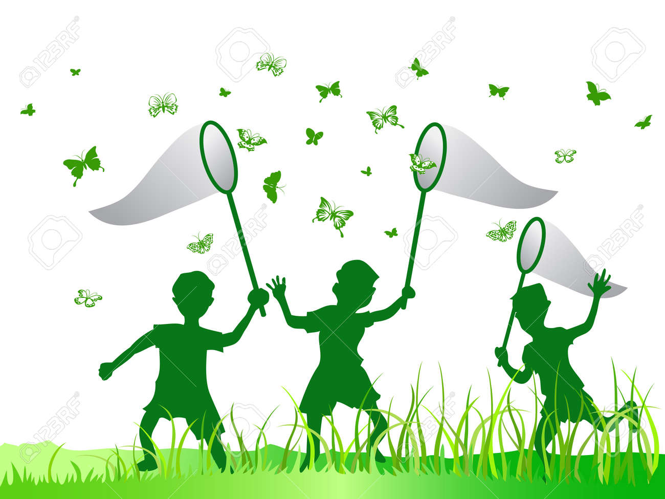 kids catching butterfly in green color royalty free cliparts