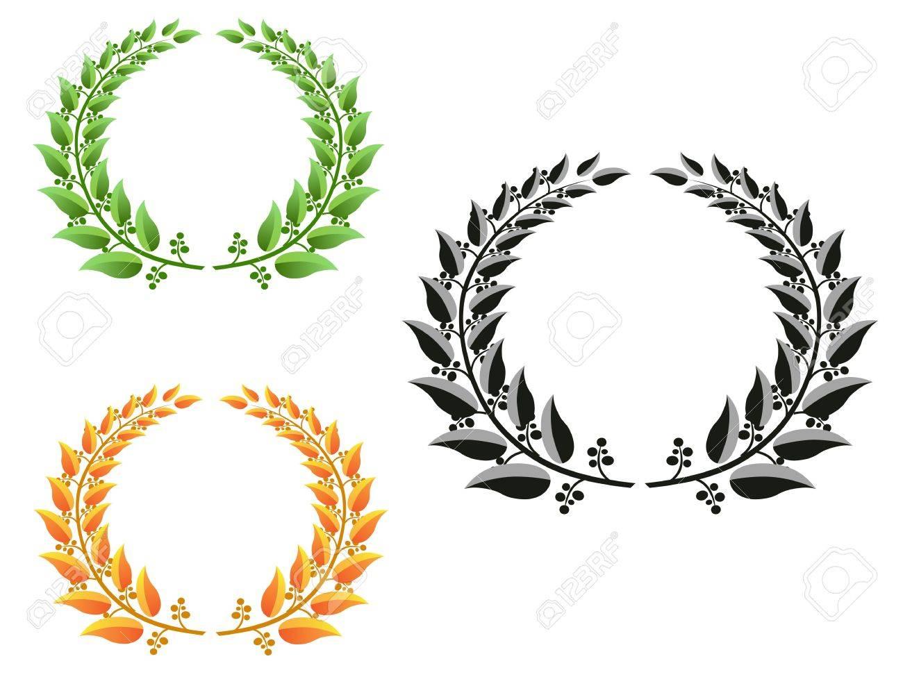 three different color laurel wreaths Stock Vector - 9569256