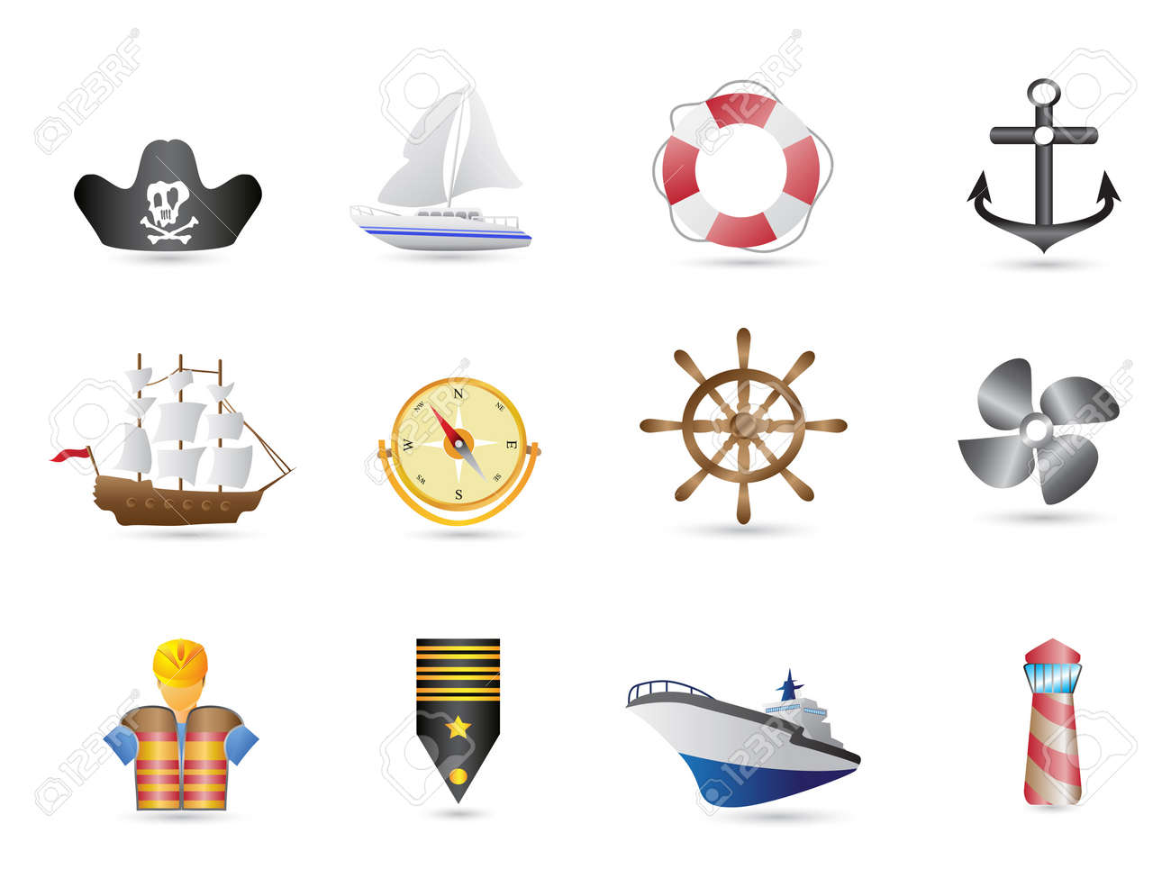Marine, Sailing and naval icons for design Stock Vector - 9794546