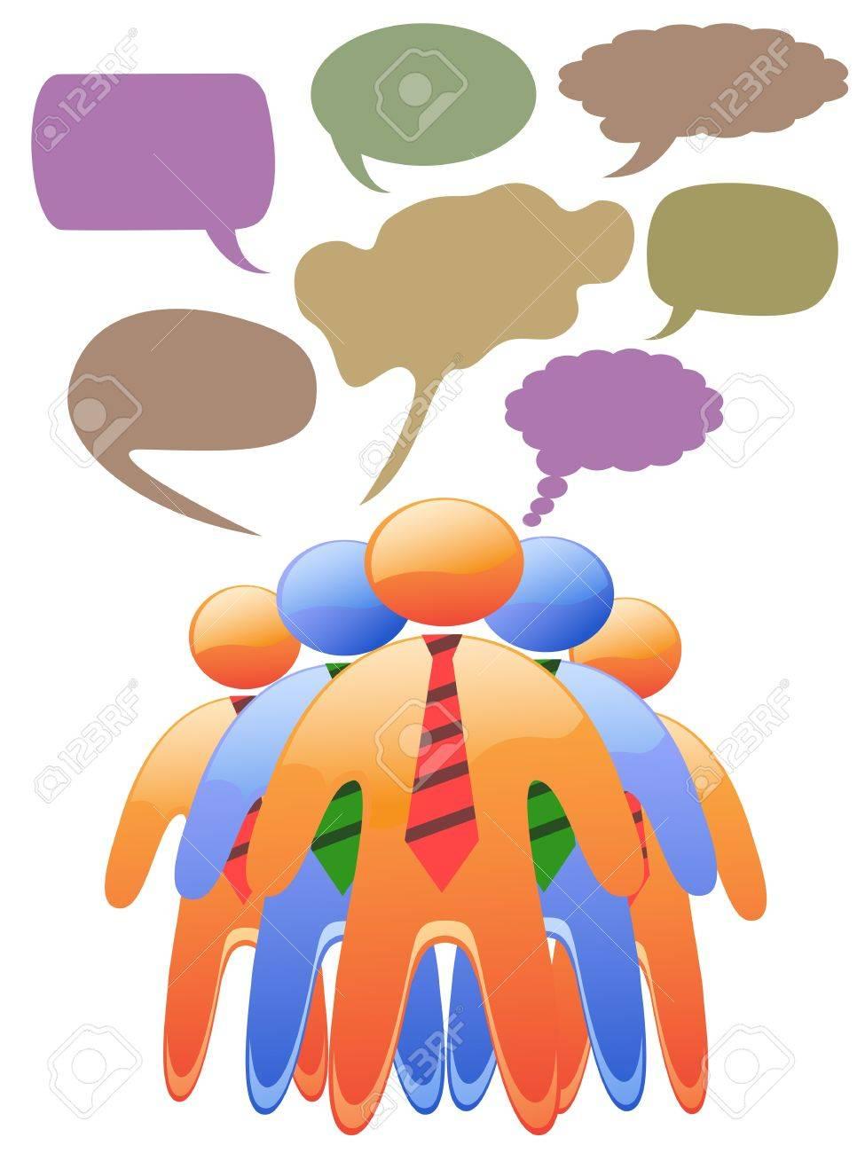 social symbol people talk in color speech bubbles Stock Vector - 9883019