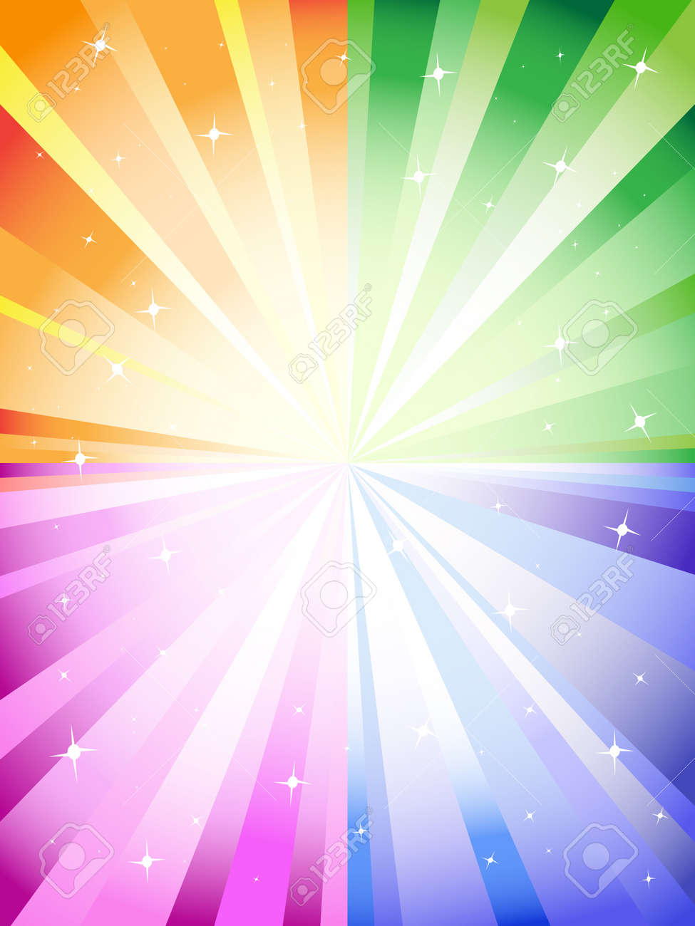A colorful background with a burst and stars Stock Vector - 9883026