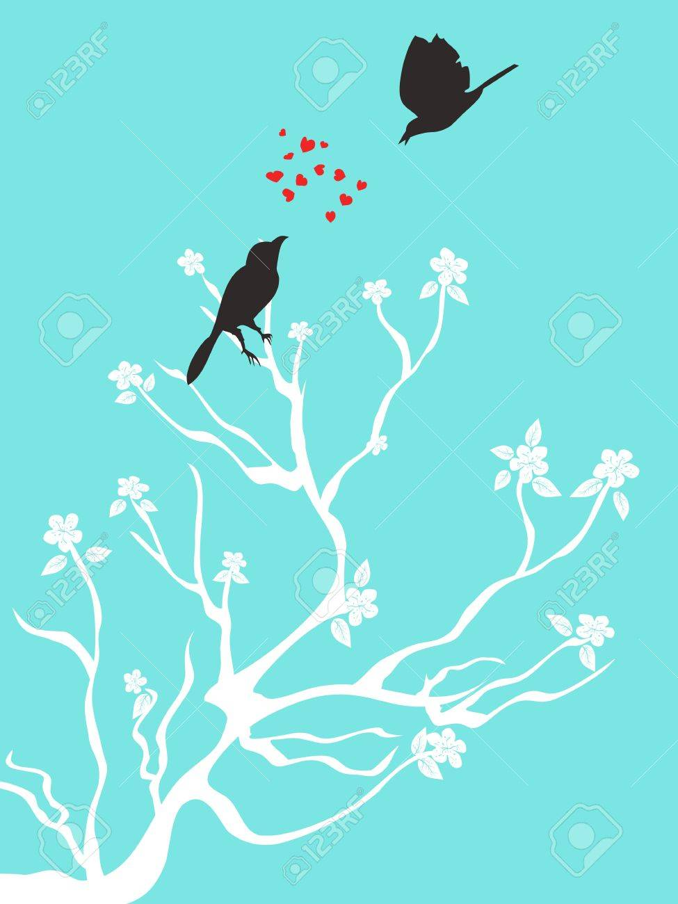 two birds talk love on blue background Stock Vector - 10099640