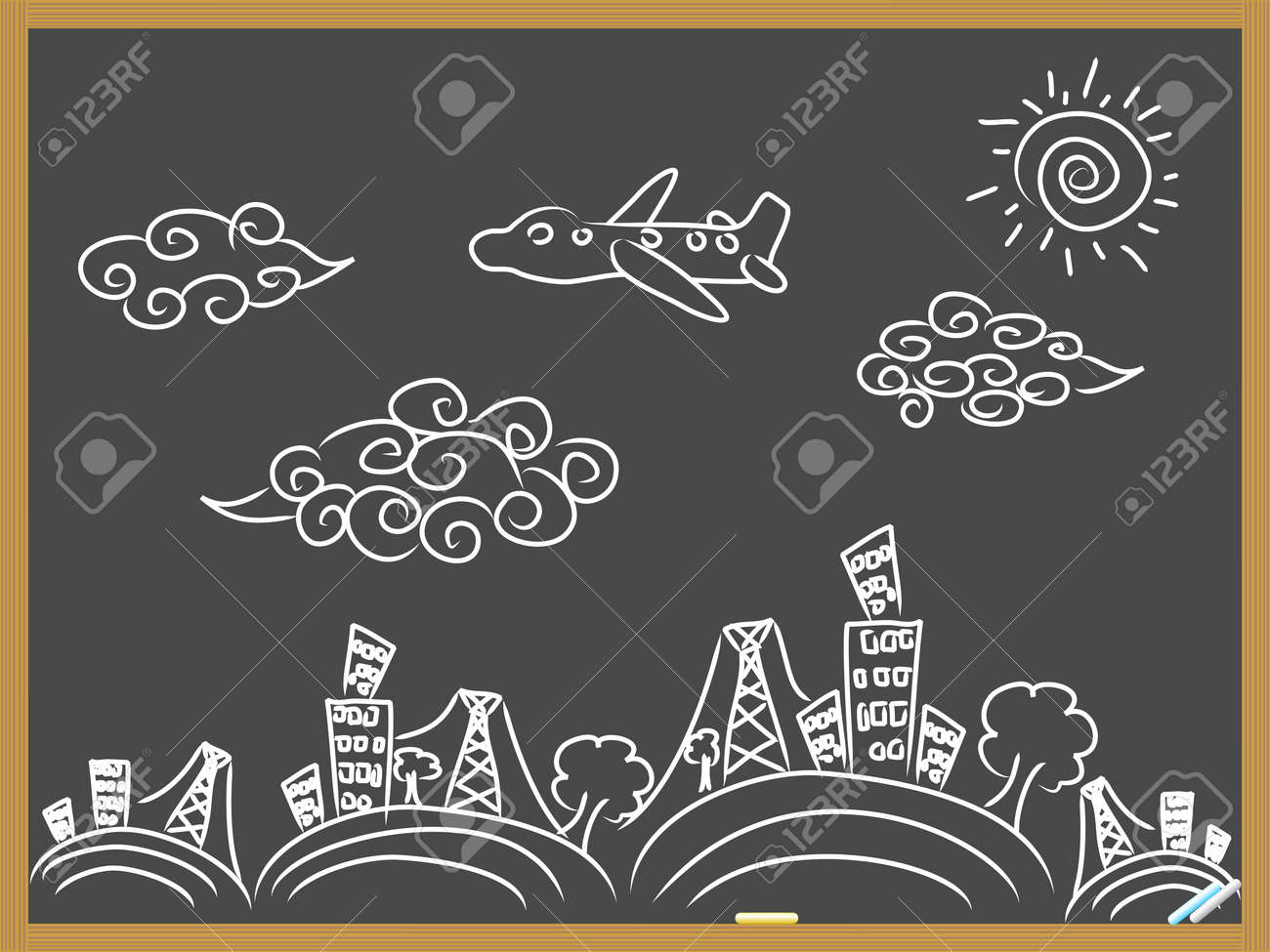 hand drawing doodle travel background drew on blackboard Stock Vector - 10099641