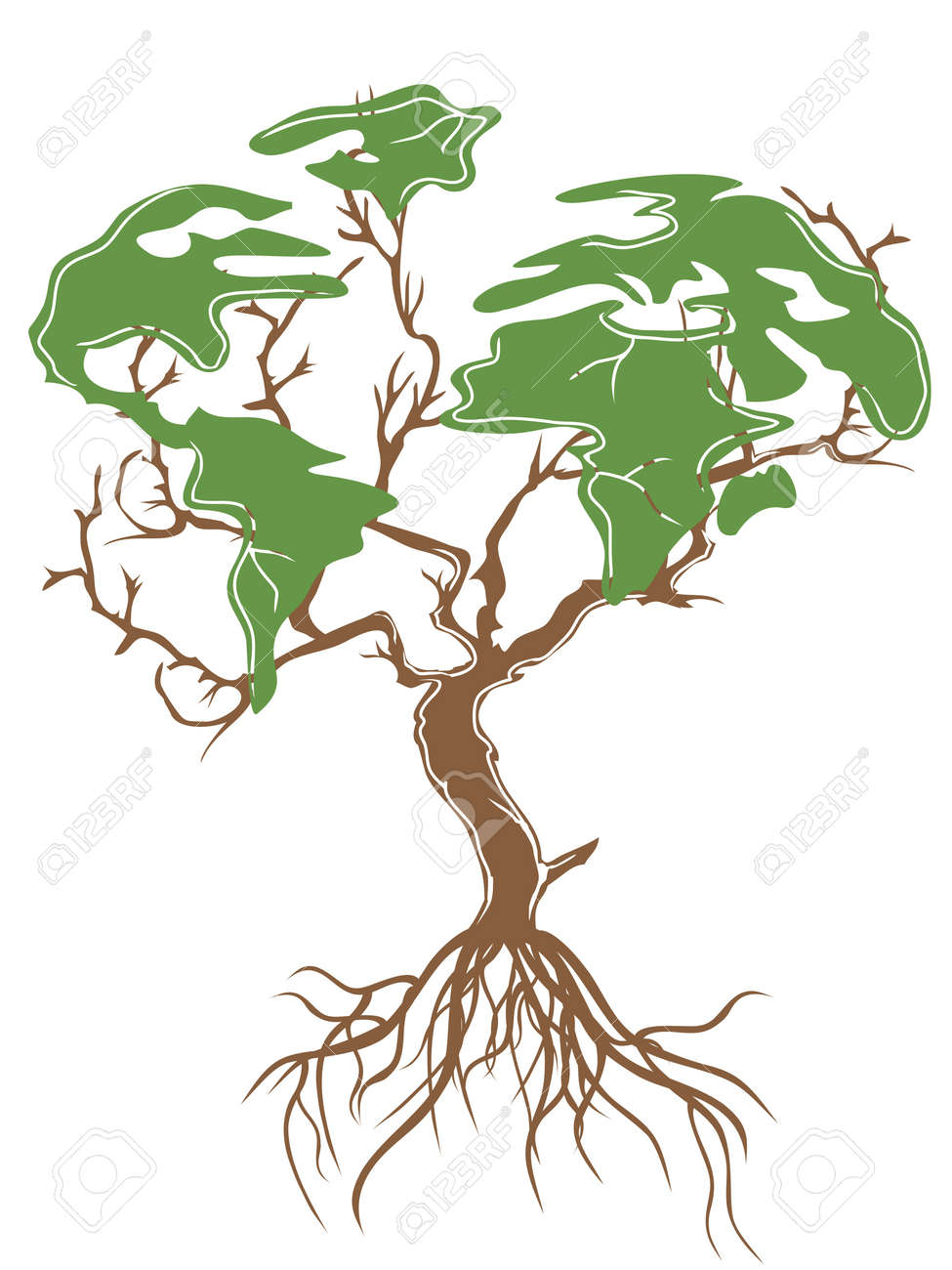 isolated green earth tree on white background Stock Vector - 10099638