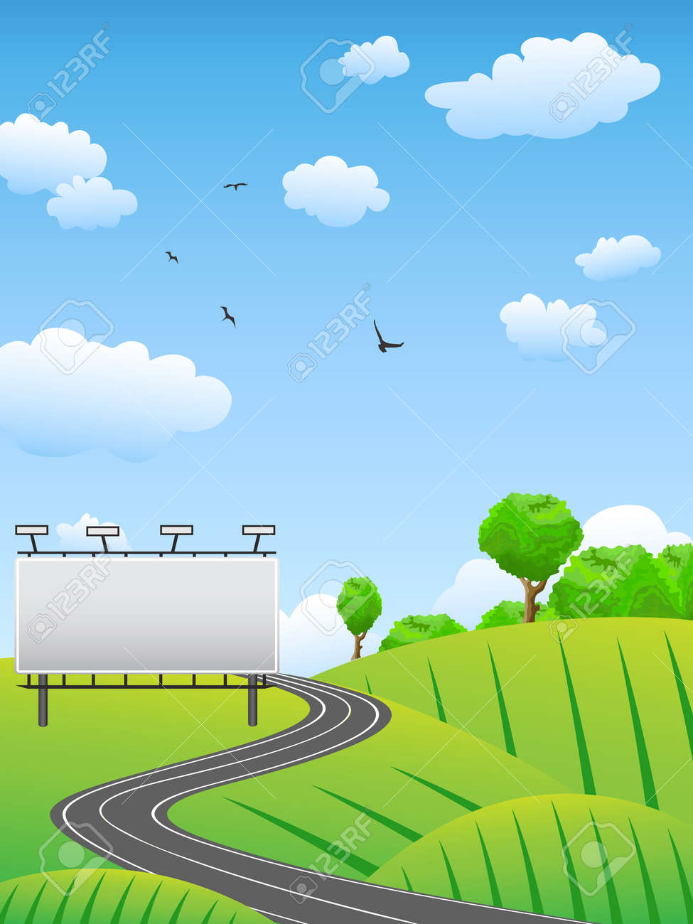 road with billboard on countryside Stock Vector - 10174047