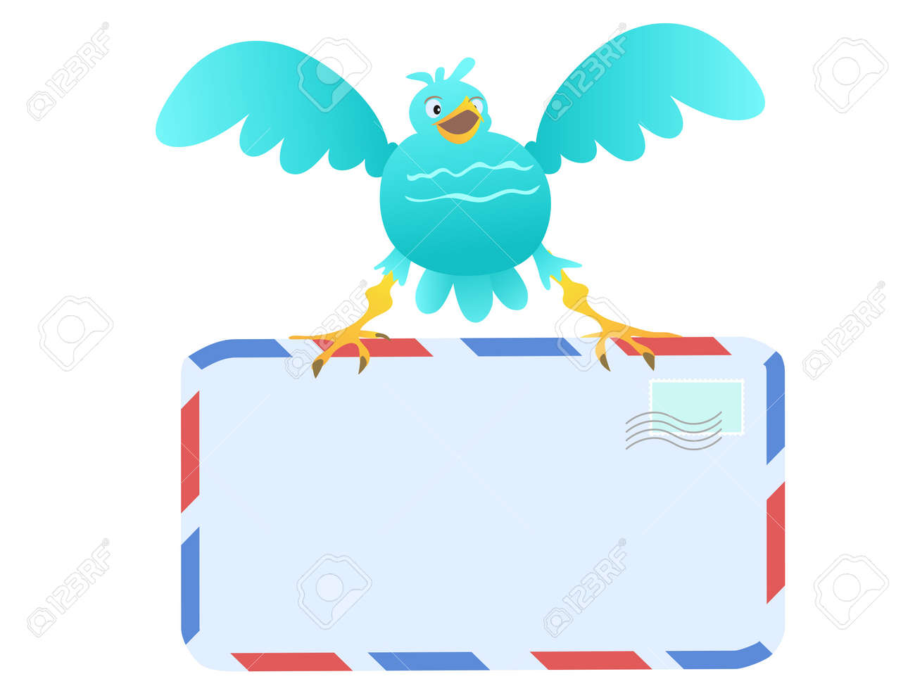 Funny Blue Bird carrying mail Stock Vector - 10419631
