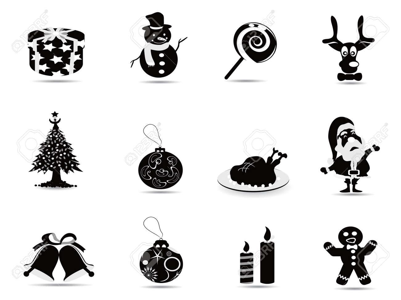 black christmas icon set for christmas holiday Stock Vector - 10770893