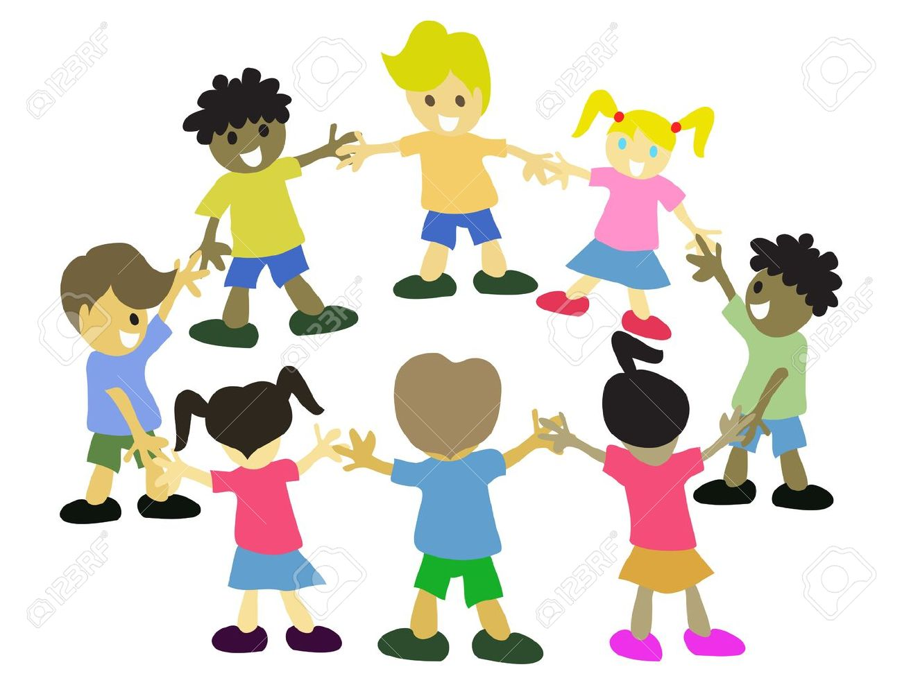 kids hand in hand around in circle Stock Vector - 10845944
