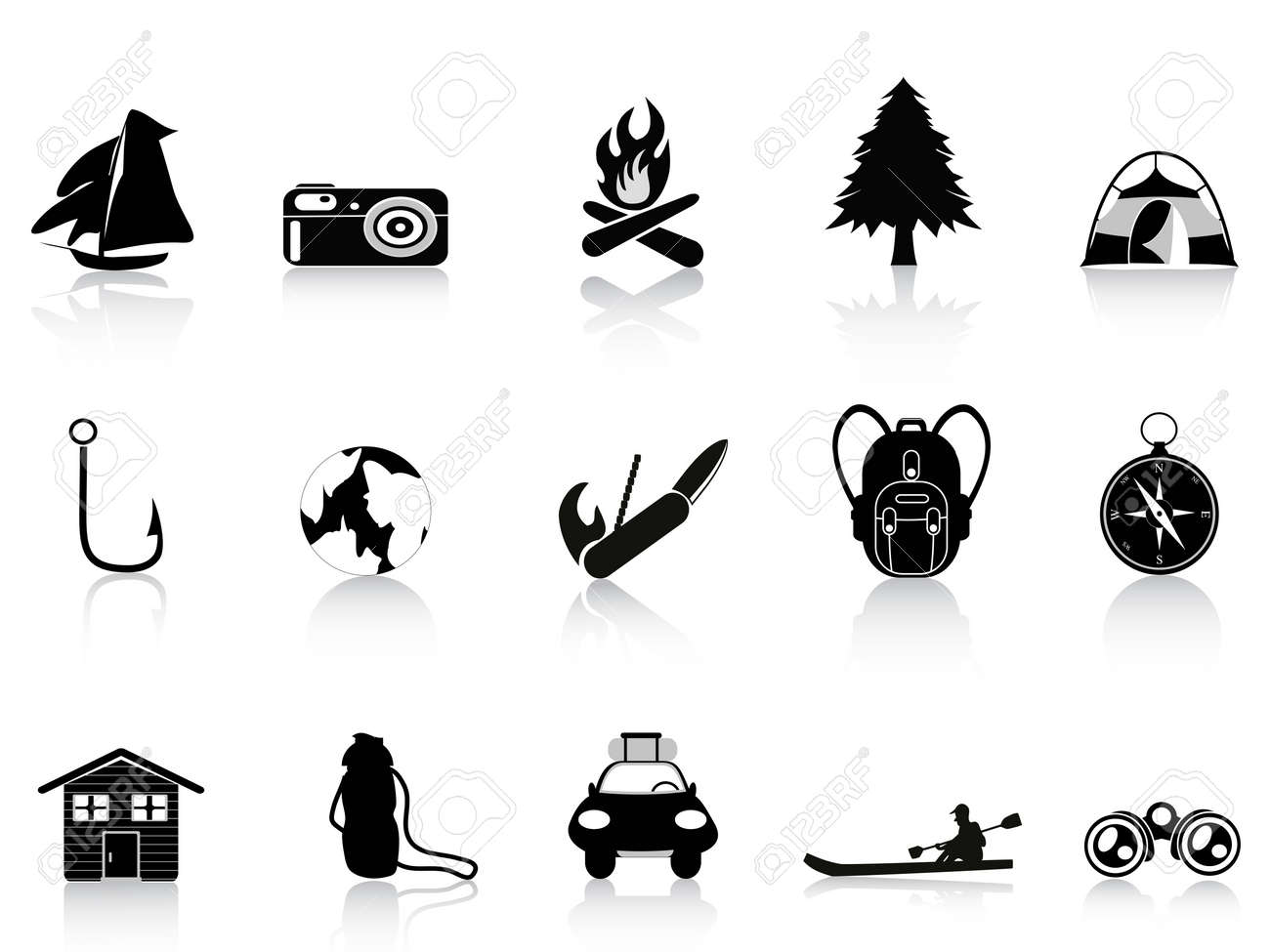 black outdoors and camping icon Stock Vector - 11097303