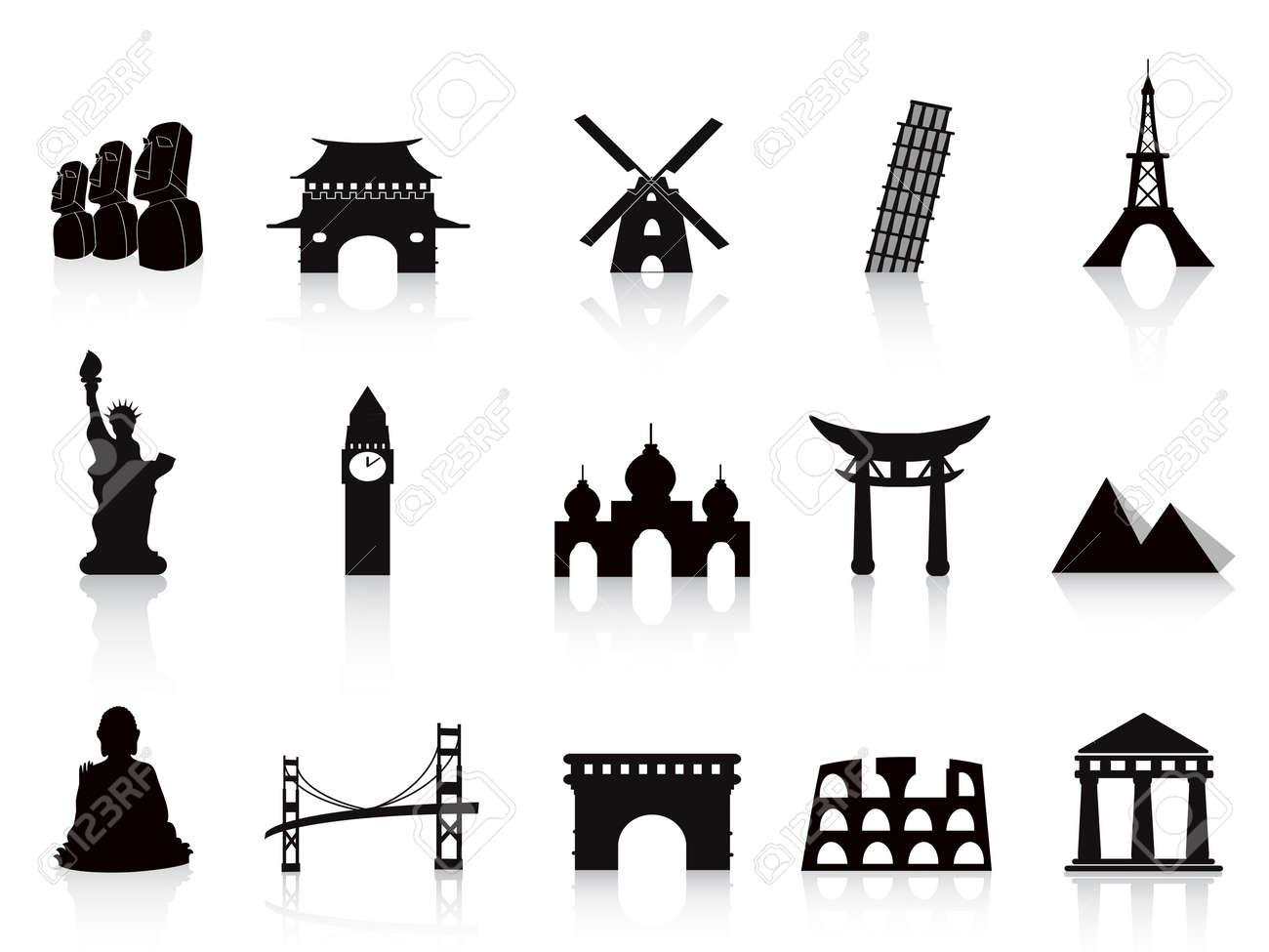black landmark icons for travel design Stock Vector - 11097307