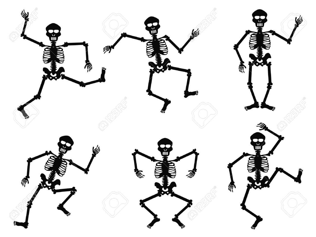 isolated skeletons dancing on white background stock vector 11097306 - Dancing Halloween