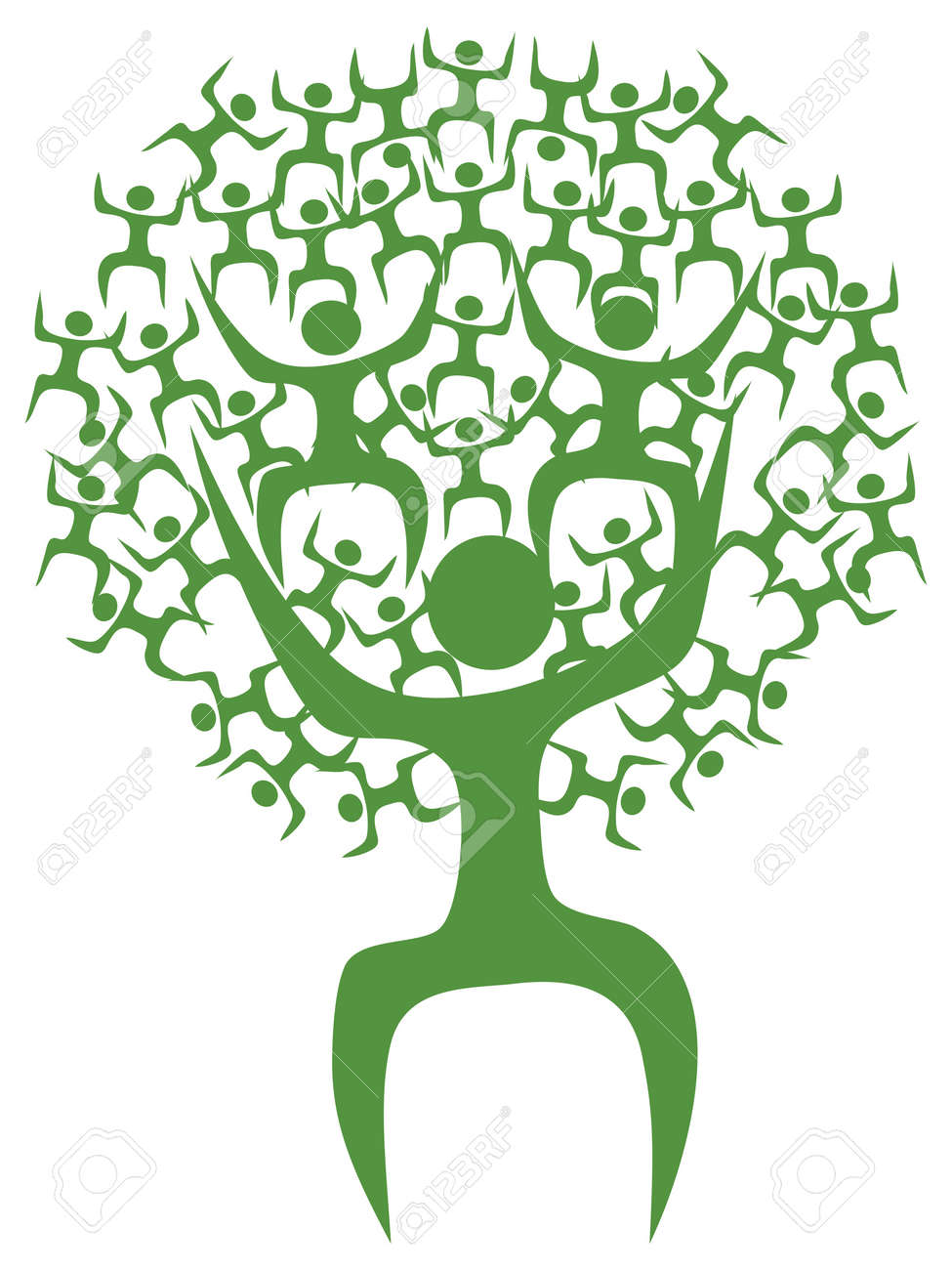 isolated green eco tree man on white background Stock Vector - 11386311