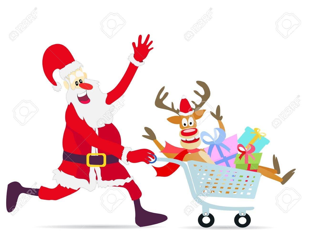 happy Santa Claus running shopping cart with deer and gifts on white background Stock Vector - 11386310