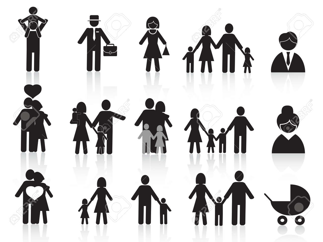 set of black happy family icons for design Stock Vector - 11586036