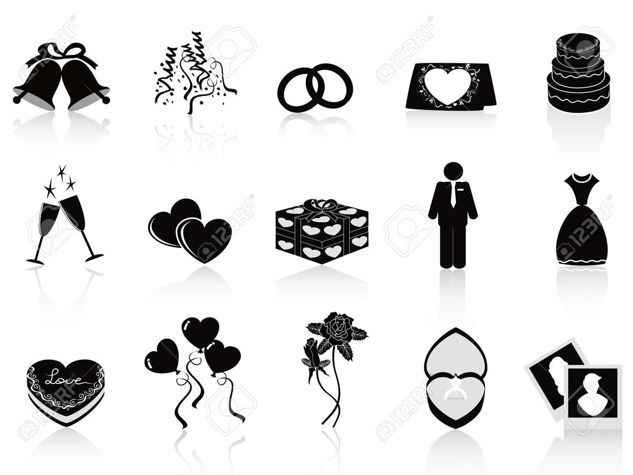 Schwarze Hochzeit Symbole Fur Hochzeit Design Gesetzt Lizenzfrei