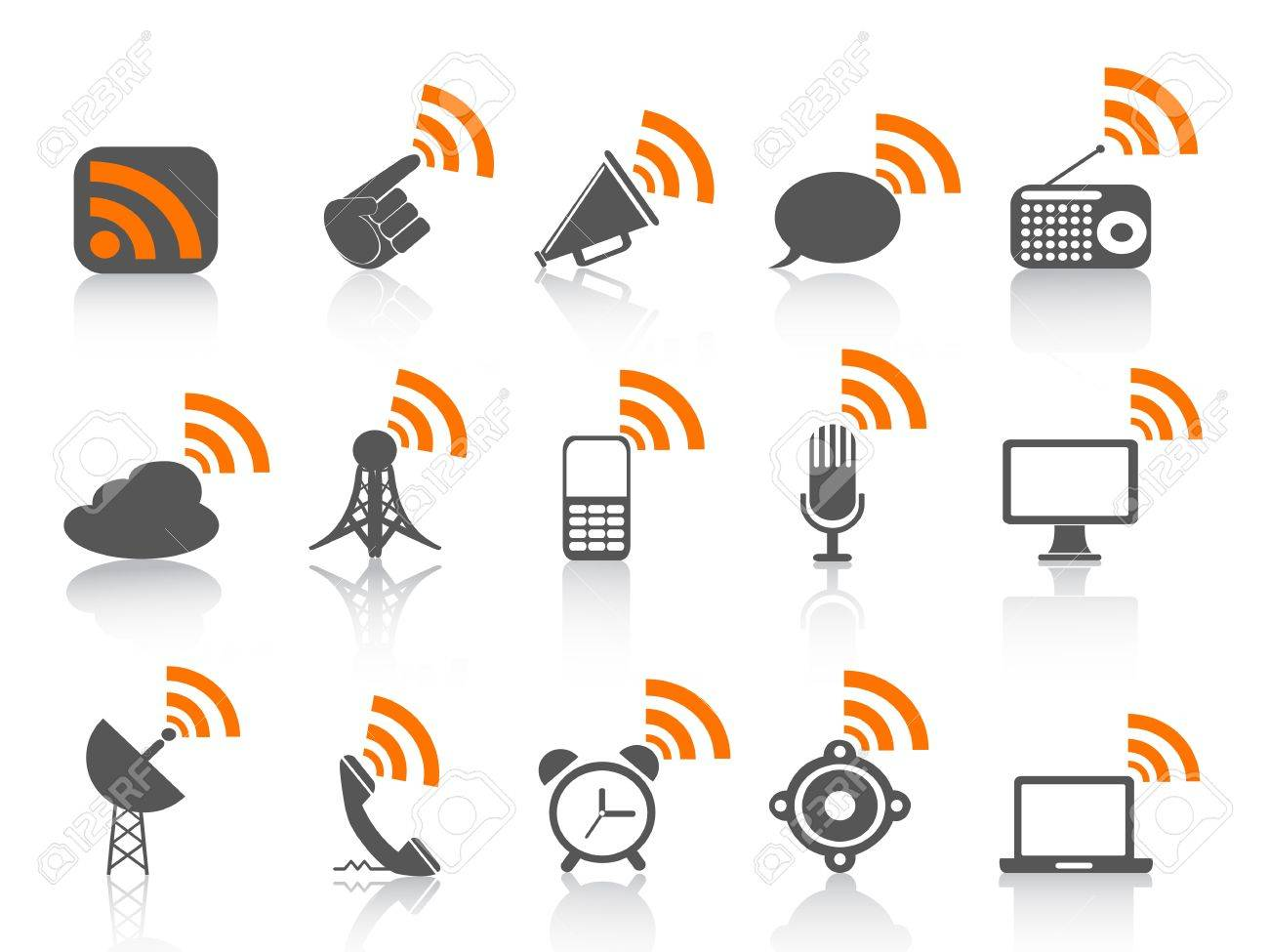 isolated communication icon with orange rss on white