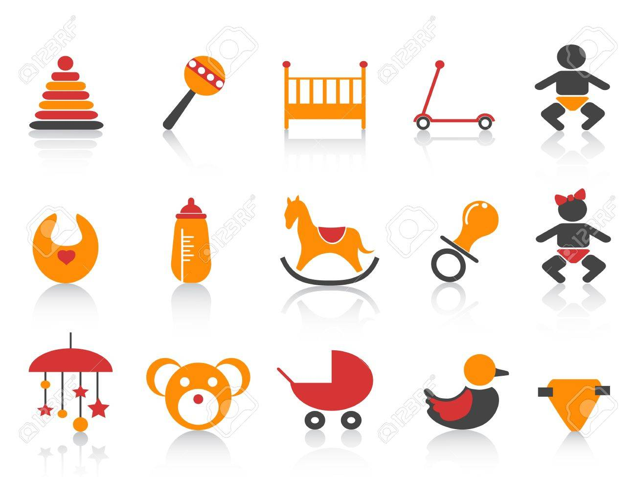 simple baby icons set with orange ,red and black color Stock Vector - 11785310