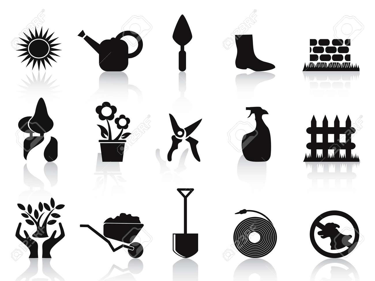 isolated black garden icons set on white background Stock Vector - 12075260