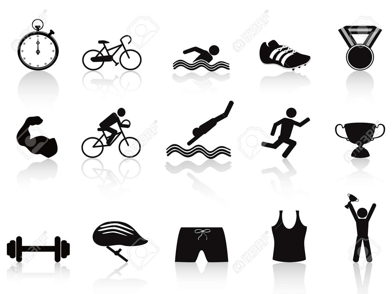 isolated triathlon sport icon set on white background Stock Vector - 12075261