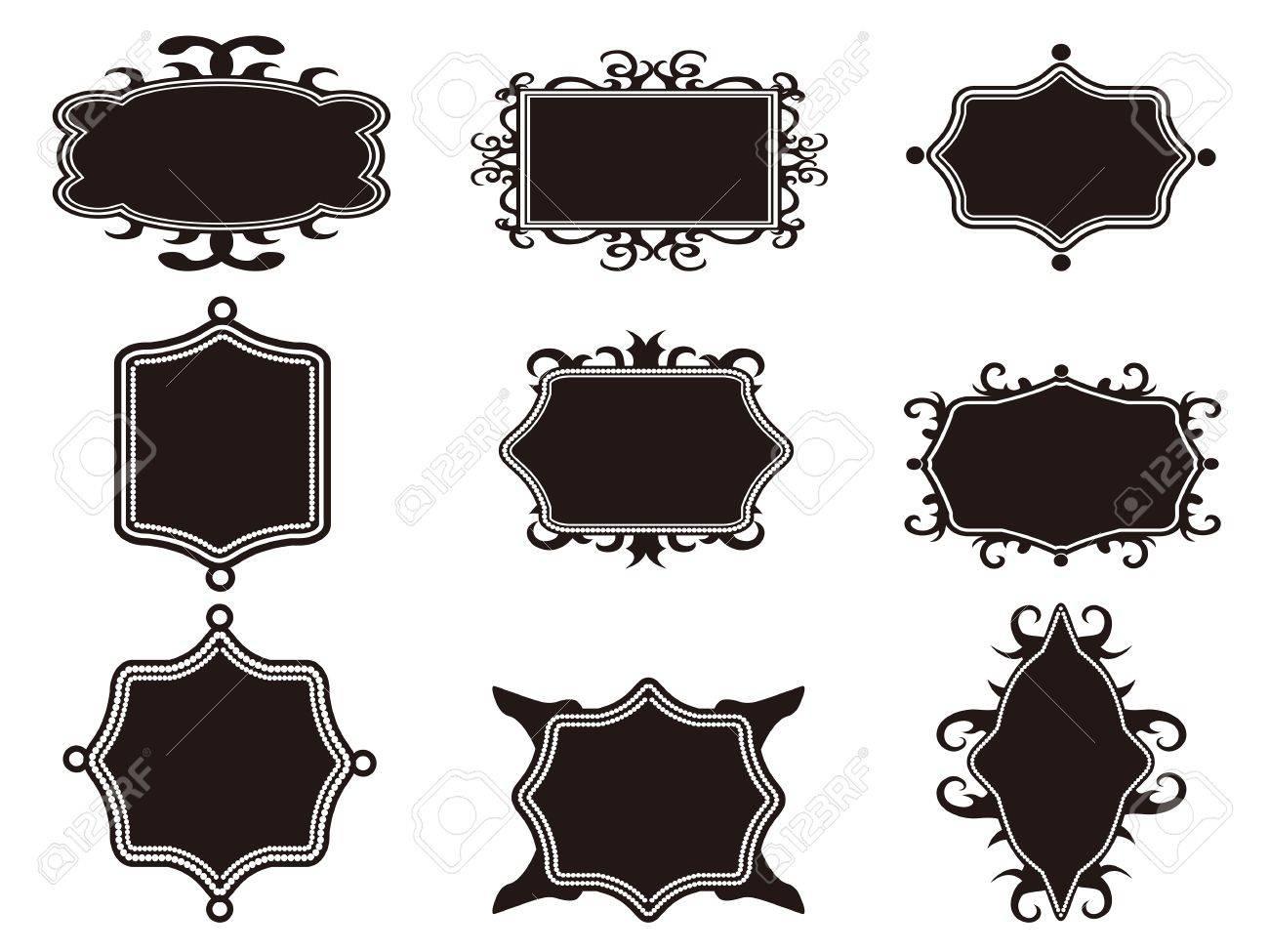 Isolated Black Retro Frames Set From White Background Royalty Free ...