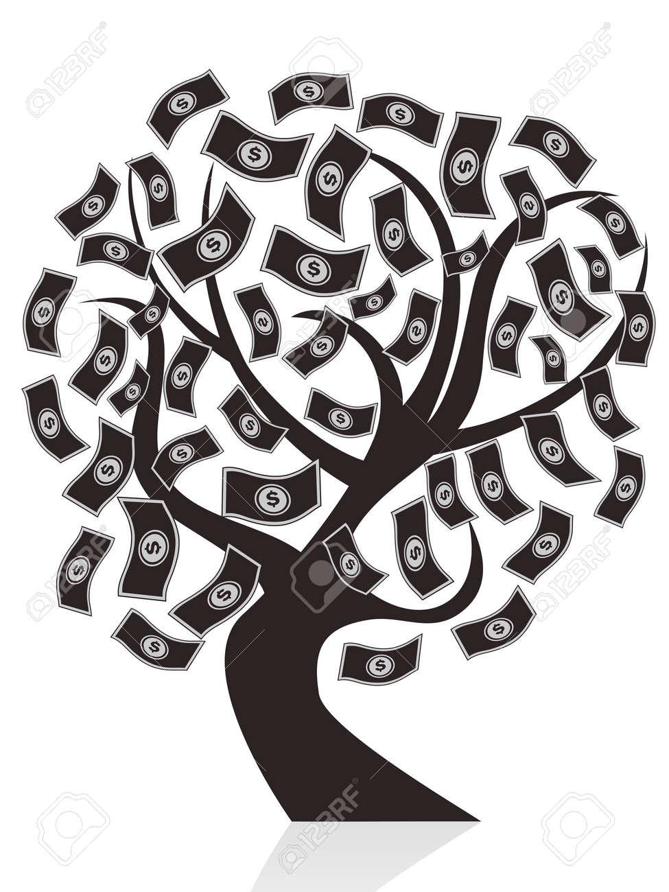 isolated black money tree on white background Stock Vector - 12306114